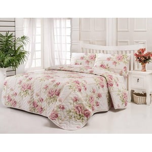 Sada prošívaného přehozu přes postel a dvou polštářů Firuze Pink, 200x220 cm