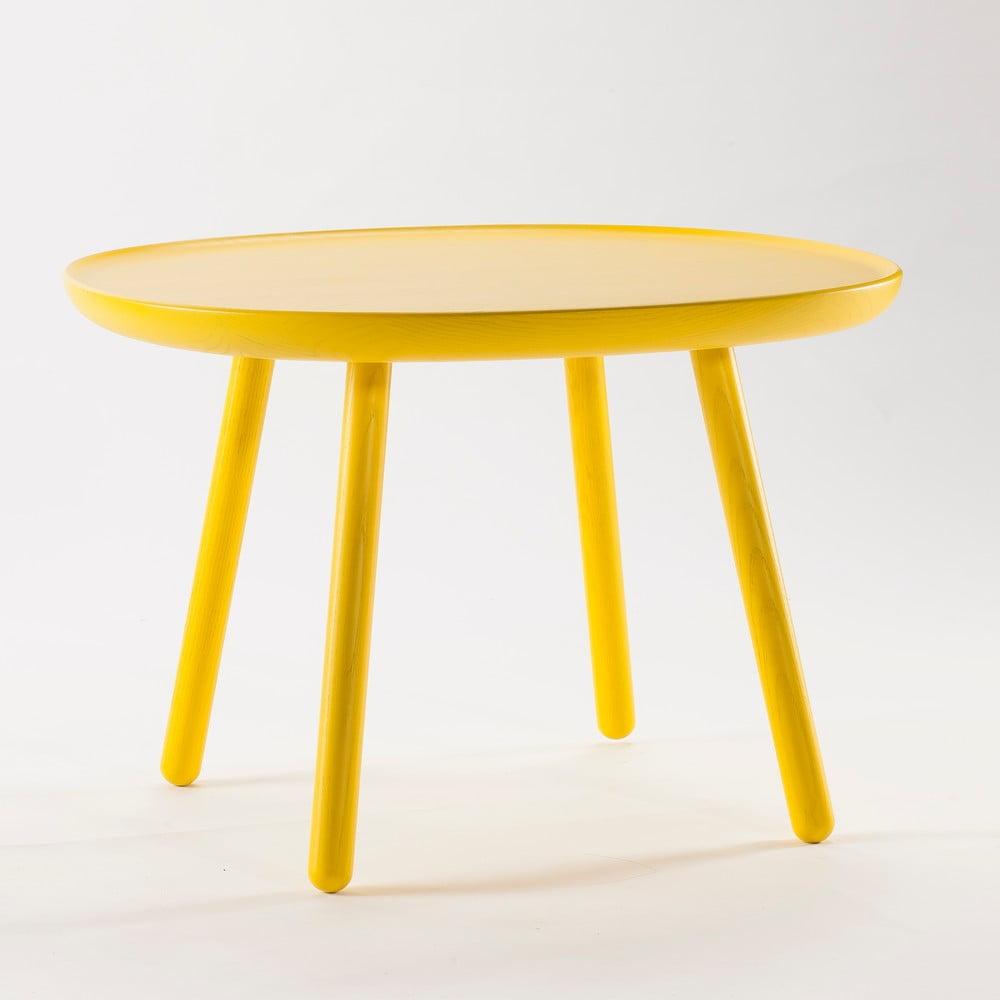 Žlutý odkládací stolek z masivu Emko Naïve Large