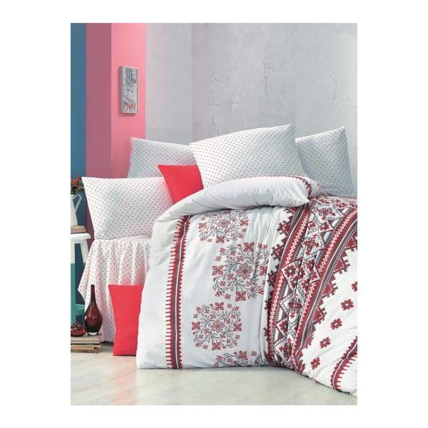 Červenobiele obliečky a plachta na dvojlôžko Mira, 200×220 cm