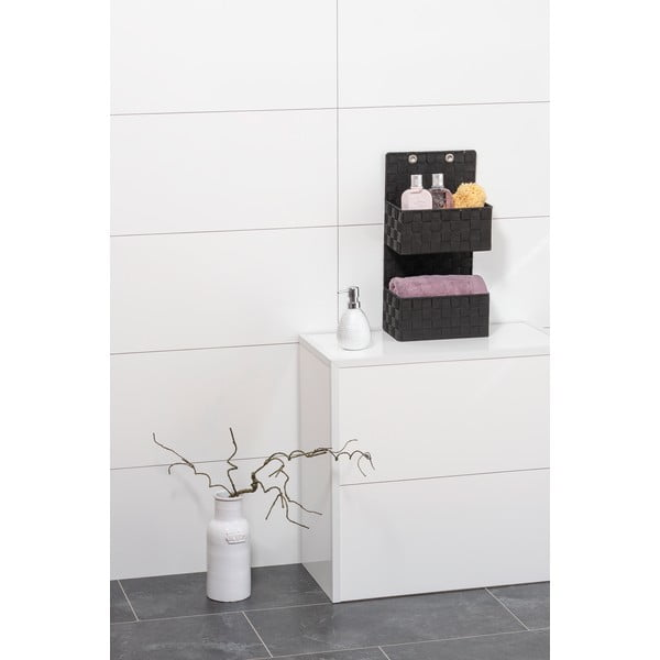 Černý dvojitý koupelnový organizér Wenko Adria