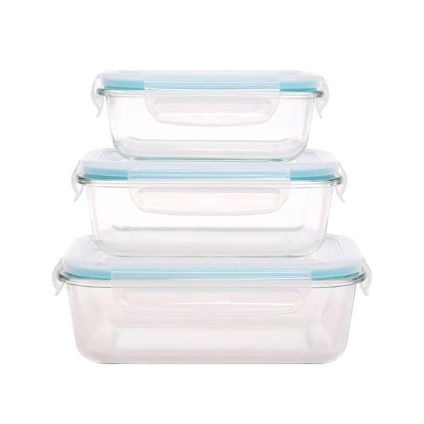 Grande 3 db üveg ételtároló, műanyag fedővel - Sabichi