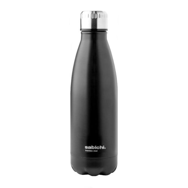 Czarna matowa butelka ze stali nierdzewnej Sabichi, 450 ml