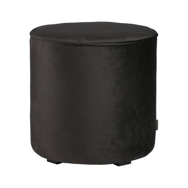 Sara fekete bársony puff, ⌀ 46 cm - WOOOD
