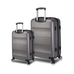 Sada 2 šedých cestovních kufrů na kolečkách s USB porty My Valice LASSO Cabin & Large