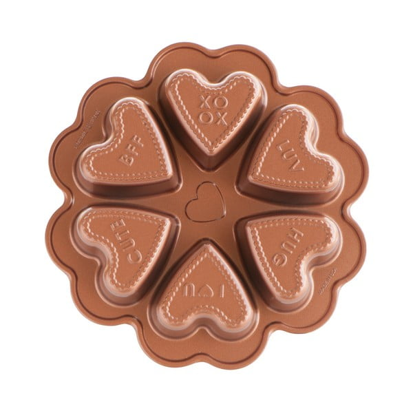 Formă pentru 6 prăjituri în formă de inimă Nordic Ware Valentine, 500 ml, arămiu