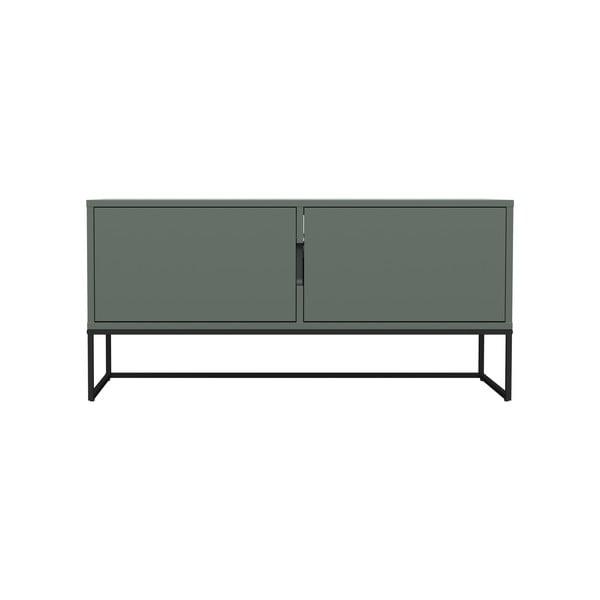 Masă TV cu picioare metalice și 2 uși Tenzo Lipp, lățime 118 cm, verde