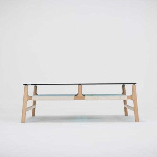 Konferenční stolek s konstrukcí z masivního dubového dřeva a petrolejovou deskou Gazzda Fawn, šířka90cm