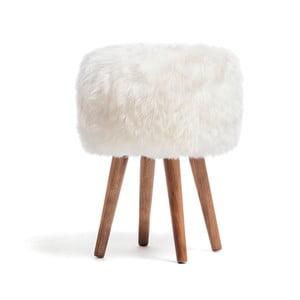 Stolička s bílým sedákem z ovčí kožešiny Royal Dream
