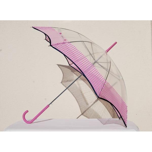 Transparentní deštník Vichy, růžový