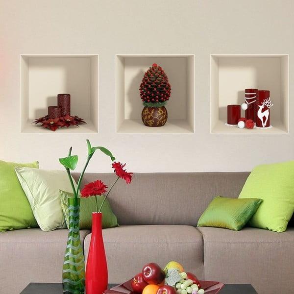 Sada 3 vianočných samolepiek s 3D efektom Ambiance Red Candles and Christmas Tree