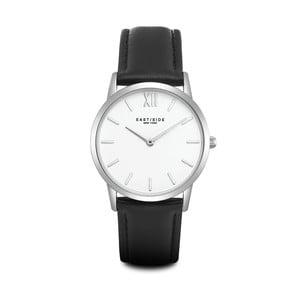 Dámské hodinky s černým koženým řemínkem a ciferníkem ve stříbrné barvě Eastside Upper Union