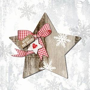 Balení 10 papírových ubrousků s vánočním motivem PPD Country Xmas Star