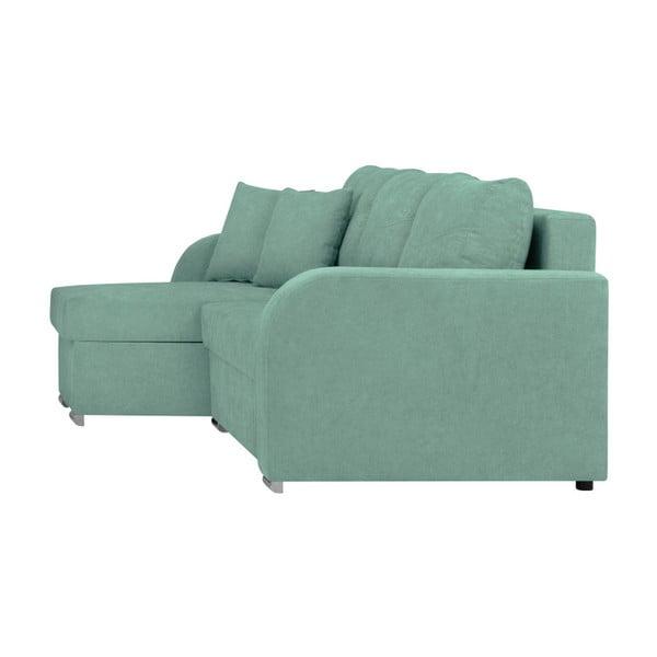Mentolově zelená třímístná rohová rozkládací pohovka s úložným prostorem Melart Louise