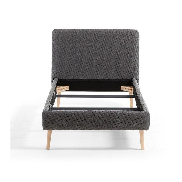 Tmavě šedá jednolůžková čalouněná postel La Forma Lydia Dotted, 90 x 190 cm
