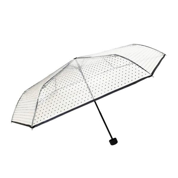 Black Polka Dots átlátszó összecsukható esernyő, ⌀ 97 cm - Ambiance