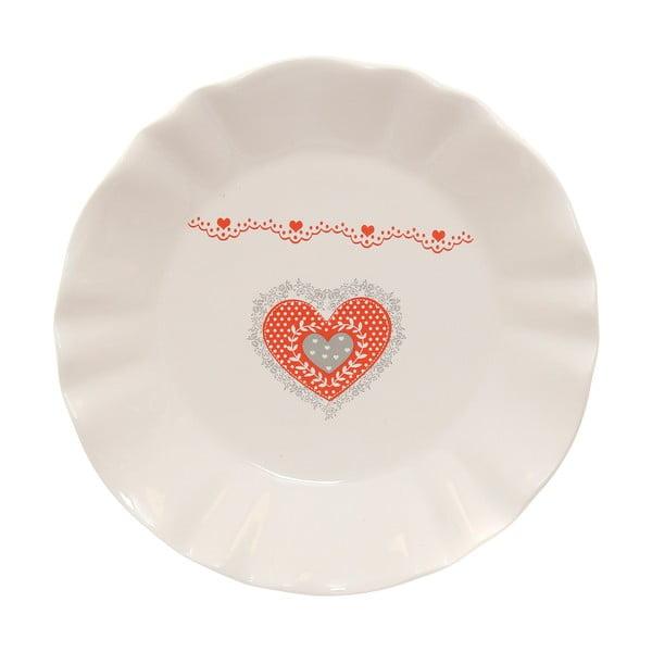 Keramický servírovací talíř Kasanova Heart, ø21cm