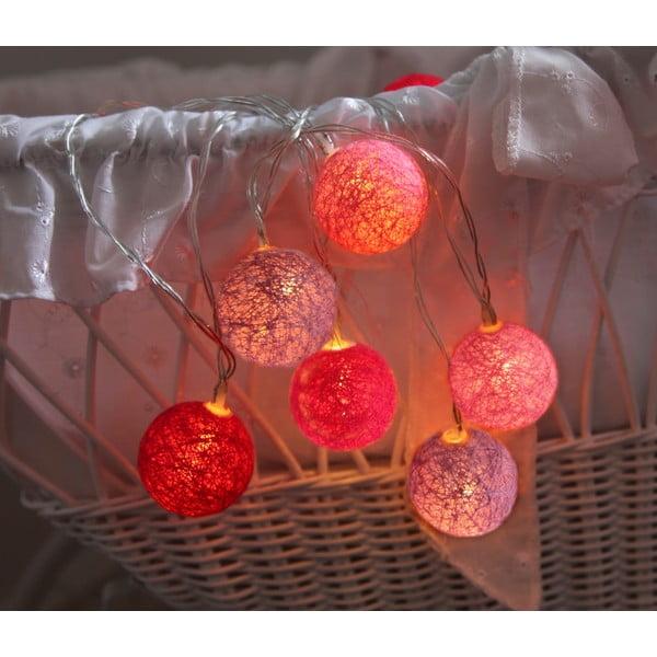 Růžový světelný LED řetěz Best Season Crystal, 10 světýlek