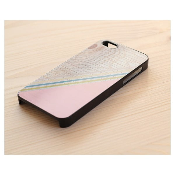 Obal na iPhone 4/4S, Diagonal Stripes Pastel Pink wood/black