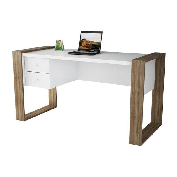 Biely pracovný stôl v dekore orechového dreva Lord