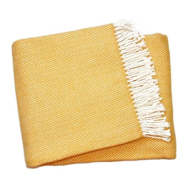 Medově žlutý pléd s podílem bavlny Euromant Skyline, 140x180cm