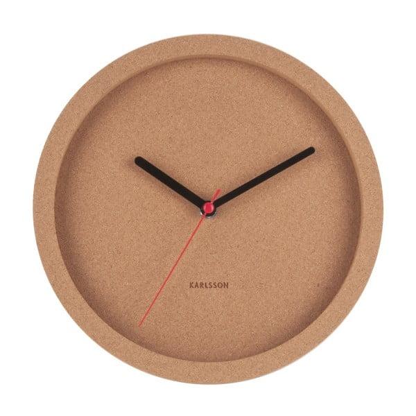 Brązowy korkowy zegar ścienny Karlsson Tom, ⌀26 cm