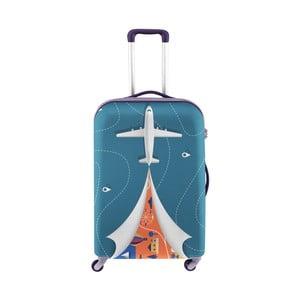 Modrý obal na kufr s motivem letadla Oyo Concept, 76 x 49 cm