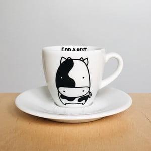 Šálek na espresso s podšálkem FOR.REST Design Cow, 100ml