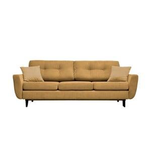 Canapea extensibilă cu 3 locuri Mazzini Sofas Jasmin, galben