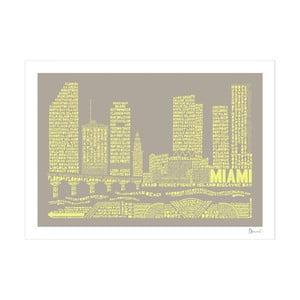 Plakát Miami Grey&Yellow, 50x70 cm
