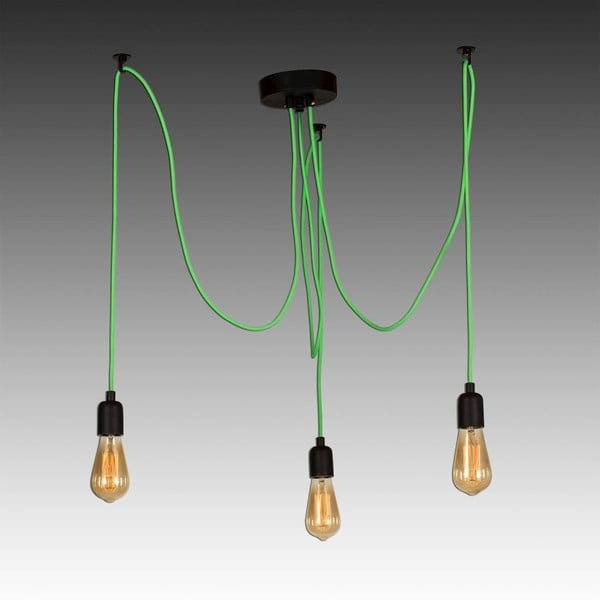 Zelené závěsné svítidlo Wire Hanging Lamp Larro, 3 žárovky