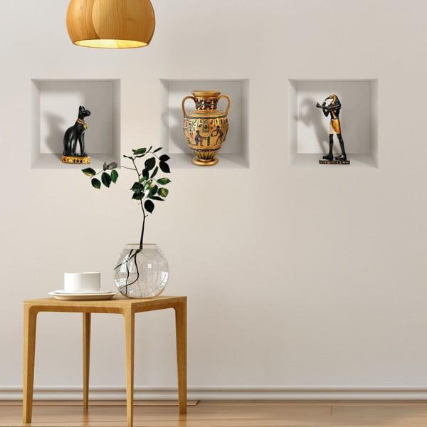Set 3 autocolante 3D pentru perete Ambiance Egyptian Statuettes