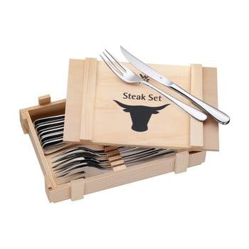 Set 6 tacâmuri pentru friptură în cutie din lemn WMF Cromargan®