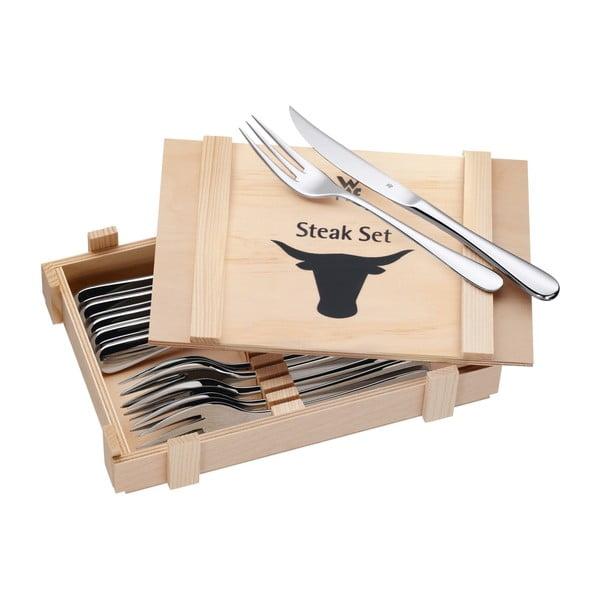 Komplet 6 sztućców do steków w drewnianym opakowaniu WMF Cromargan®