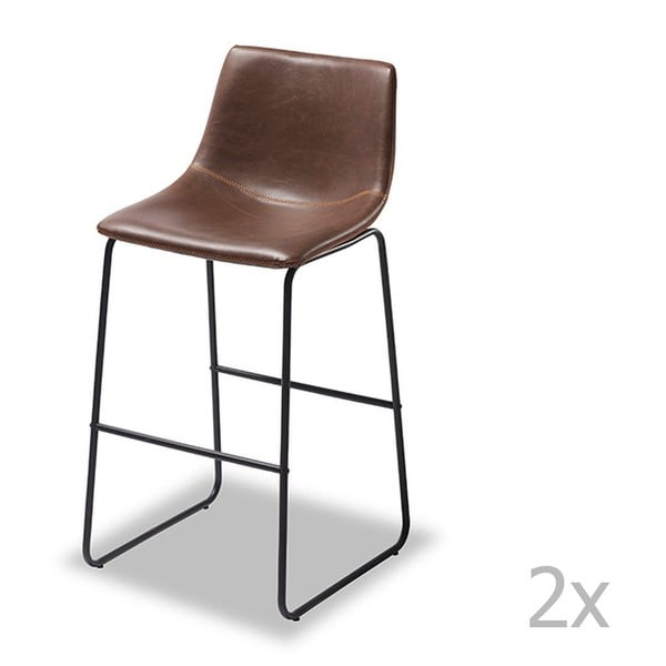 Set 2 scaune de bar Furnhouse Indiana, maro închis