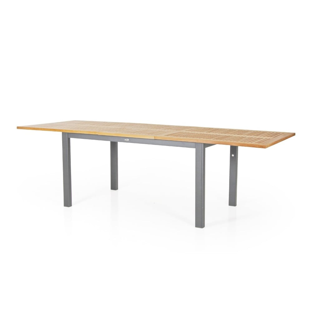 Teakový zahradní stůl s šedým podnožím Brafab Lyon, 194 x 92 cm