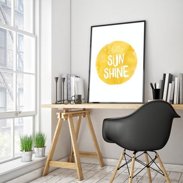 Plakát v dřevěném rámu Hello sun, 38x28 cm