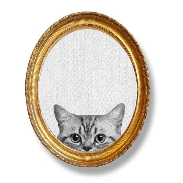Tablou oval de perete cu ramă Really Nice Things Cat, 40 x 50 cm