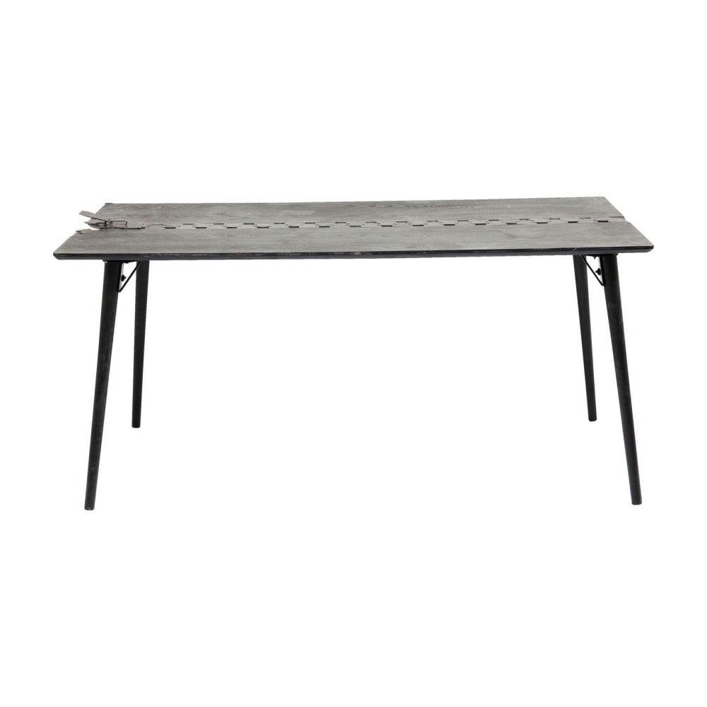 Černý jídelní stůl s deskou z jedlového dřeva Kare Design Zipper, 162 x 80 cm