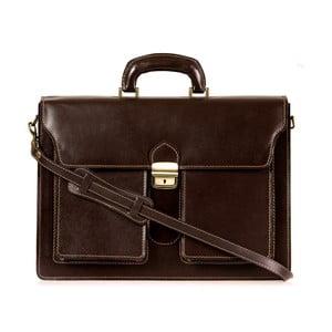 Tmavě hnědá kožená taška přes rameno Italia in Progress Caravaggio