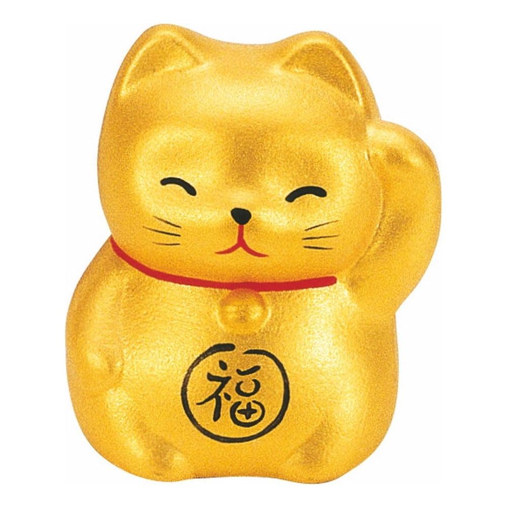 Keramická dekorace ve tvaru kočky ve zlaté barvě TokyoDesignStudio Lucky Cat, výška 5,2cm