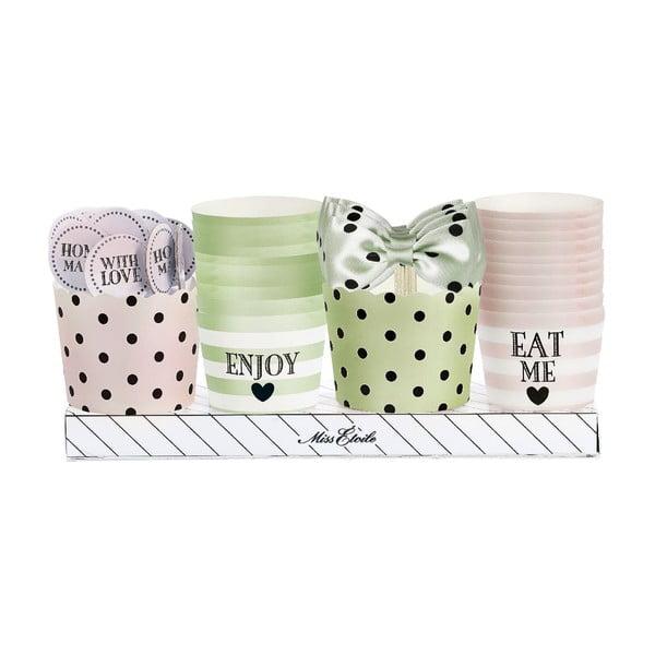 Dárkové balení košíčků a ozdob na muffiny, zeleno-růžová