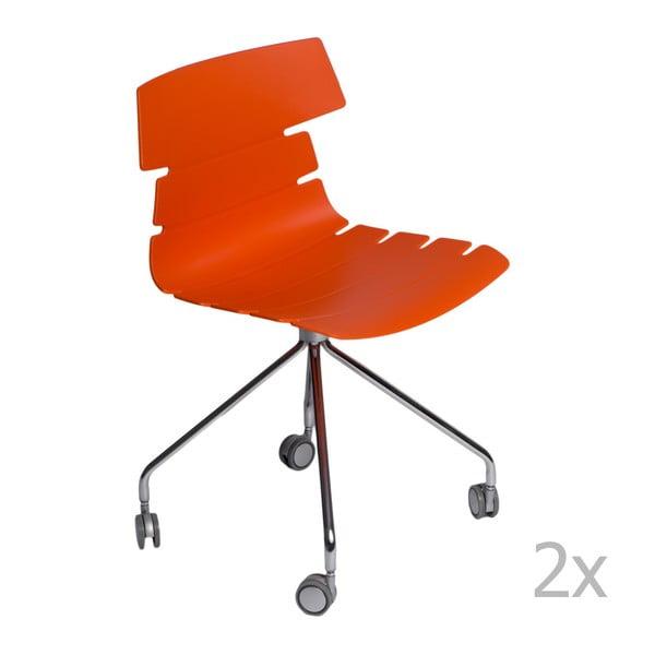 Sada 2 oranžových židlí D2 Techno Roll
