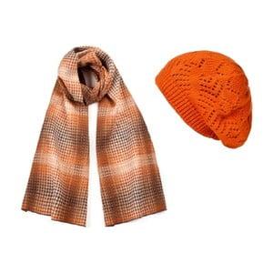 Oranžová čepice se šálou Lavaii Elegant