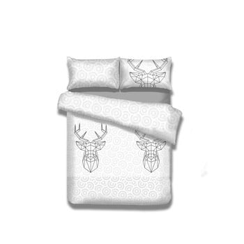 Lenjerie de pat din flanel AmeliaHome My Deer Friend, 200 x 220 cm + 70 x 80 cm de la AmeliaHome