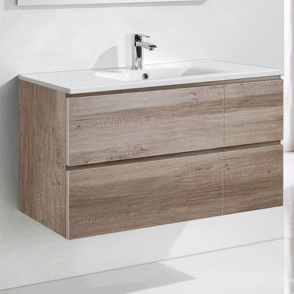 Koupelnová skříňka s umyvadlem a zrcadlem Capri, dekor dubu, 100 cm