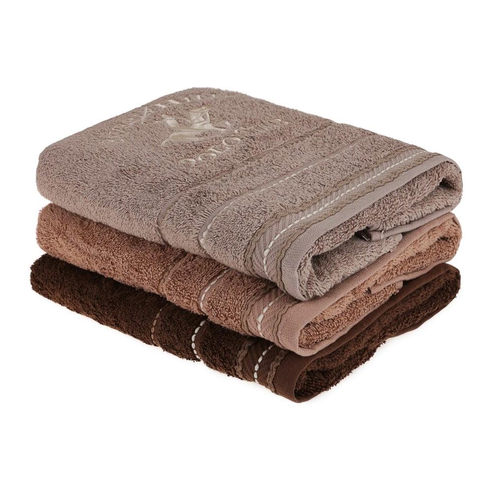 Sada 3 hnědých ručníků na ruce do koupelny, 90 x 50 cm