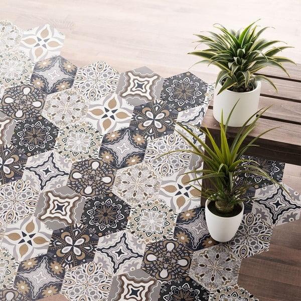 Set 10 autocolante impermeabile pentru podea Ambiance Fernando, 20 x 18 cm