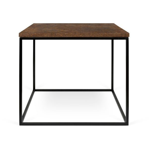 Gleam barna dohányzóasztal fekete lábakkal, 50 x 50 cm - TemaHome