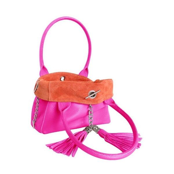 Oboustranná kožená kabelka Dolce Sonia Fuxia/Arancio