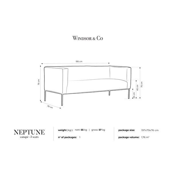Canapea cu 3 locuri Windsor & Co Sofas Neptune, turcoaz